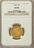 Classic Half Eagles: , 1835 $5 AU58 NGC. NGC Census: (137/84). PCGS Population (36/61).Mintage: 371,534. Numismedia Wsl. Price for problem free N...