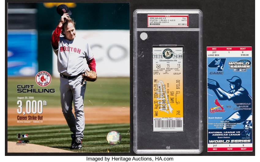 Baseball CollectiblesTickets 2004 World Series Game 4 Full Ticket And 2006 Curt Schilling