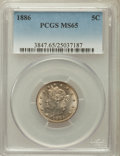 Liberty Nickels: , 1886 5C MS65 PCGS. PCGS Population (37/5). NGC Census: (26/3).Mintage: 3,330,290. Numismedia Wsl. Price for problem free N...