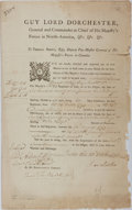 Autographs:Military Figures, Guy Carleton, Lord Dorchester, Document Signed....