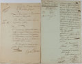 Autographs:Statesmen, [Lazare Carnot]. Pair of Documents Signed... (Total: 2 Items)