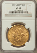 Liberty Double Eagles: , 1907 $20 MS60 NGC. NGC Census: (1046/28242). PCGS Population(1179/19124). Mintage: 1,451,864. Numismedia Wsl. Price for pr...