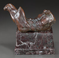 A PATINATED BRONZE FIGURE ON A MARBLE BASE: RECUMBENT MALE NUDE 20th century 13-1/4 x 8-