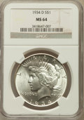 Peace Dollars: , 1934-D $1 MS64 NGC. NGC Census: (772/289). PCGS Population(1262/470). Mintage: 1,569,500. Numismedia Wsl. Price for proble...