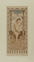 Books:Prints & Leaves, Otto Eckmann. Signed Original Color Print. Measures 19.75 x 12.5inches. Matted. Mild toning with some modest edge rubbing, ...