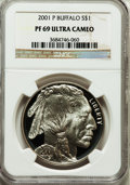 Modern Issues: , 2001-P $1 Buffalo Silver Dollar PR69 Ultra Cameo NGC. NGC Census:(12189/1528). PCGS Population (16740/740). Numismedia Ws...