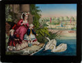 Art:Illustration Art - Mainstream, [Lithograph]. Henry Schile. Central Park, N.Y.: Feeding theSwans. 28.25 x 22 inches. Ca. 1875. Hand-tinted. Some mi...