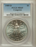 Modern Issues: , 1989-D $1 Congress Silver Dollar MS69 PCGS. PCGS Population(1794/3). NGC Census: (2264/38). Mintage: 135,203. Numismedia W...
