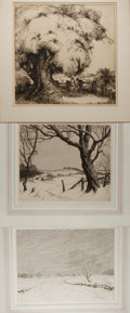 Art:Illustration Art - Mainstream, [Etching]. Group of Three Original etchings. Two by R. W. Woiceske. Signed in pencil. All matted. Additional etching by ...