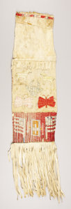 American Indian Art:Beadwork and Quillwork, A SIOUX PICTORIAL QUILLED HIDE TOBACCO BAG. c. 1880...