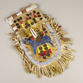 American Indian Art:Beadwork, A SIOUX PICTORIAL QUILLED AND BEADED HIDE POUCH. c. 1910. ...