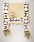 American Indian Art:Beadwork, A SIOUX BEADED HIDE SADDLE BLANKET. . c. 1900. ...