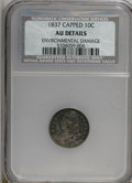 Bust Dimes: , 1837 10C Capped--Environmental Damage--NCS. AU Details. NGC Census:(2/100). PCGS Population (7/76). Mintage: 359,500. Numi...