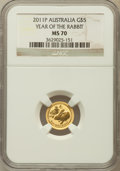 Australia, 2011-P G$5 Year of the Rabbit MS70 NGC. NGC Census: (0). PCGS Population (19)....