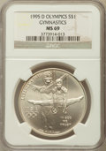 Modern Issues: , 1995-D $1 Olympic/Gymnastics Silver Dollar MS69 NGC. NGC Census:(1160/277). PCGS Population (1900/231). Numismedia Wsl. P...