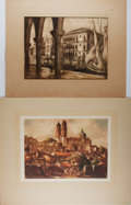 Art:Illustration Art - Mainstream, [Etching]. Group of Two Original Etchings, Nd. Borda Church andMarket Place, Tasco is reproduced in talio chrome. Mild ...