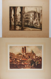 [Etching]. Group of Two Original Etchings, Nd. Borda Church and Market Place, Tasco is reproduced in talio