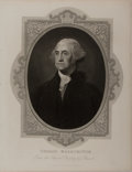 """Books:Prints & Leaves, Gilbert Stuart, artist. Engraved Illustration of George Washington. 8.25"""" x 10.75"""", published by The London Printing and Pub..."""