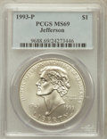 Modern Issues: , 1993-P $1 Jefferson Silver Dollar MS69 PCGS. PCGS Population(3523/320). NGC Census: (1877/618). Mintage: 266,927. Numismed...