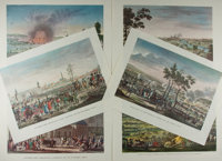 [Engraving]. Group of Six Hand-Tinted Engravings. Nd. Each depicting Napoleon's conquests. Minor wear to some corners