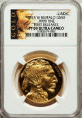 Modern Bullion Coins, 2013-W $50 One-Ounce Gold Buffalo, First Releases PR69 Ultra CameoNGC. .9999 Fine. NGC Census: (282/1360). PCGS Populatio...