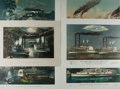 Art:Illustration Art - Mainstream, [Steamboat Races]. Group of Six Chromolithographs ca. 1880'. 18.75x 14 inches. A few closed tears. Some creasing to edges a...