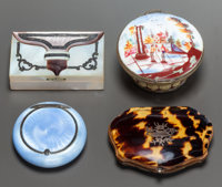 THREE LIDDED BOXES TOGETHER WITH A MINIATURE COIN PURSE 19th century 3/4 x 2-1/2 x 1-1/2 inches (1.9 x 6.4 x 3