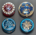 Paintings, FOUR PAINTED AND GILT BRONZE MOUNTED ROUND GLASS BOXES. 19th/20th centuries. 1 inch high x 2-1/2 inches diameter (2.5 x 6.4 ... (Total: 4 Items)