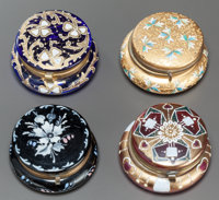 FOUR GLASS AND ENAMEL HINGED LIDDED BOXES Early 20th century 1-1/2 inches high x 2-1/2 inches diameter (3.8 x