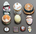 Paintings, A GROUP OF TEN BOXES, LOCKETS AND NUTMEG GRINDERS. 19th/20th centuries. 1-1/2 inches high x 1-3/4 inches diameter (3.8 x 4.4... (Total: 10 Items)