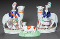 Ceramics & Porcelain, A PAIR OF STAFFORDSHIRE SCOTTISH SHEEP WITH FIGURE TOGETHER WITH A SINGLE LAMB. 19th century. 7-3/4 inches high (19.7 cm). ... (Total: 3 Items)