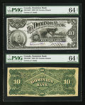 Canadian Currency: , Toronto, ON- The Dominion Bank $10 July 1, 1898 Ch. # 220-14-04PFace and Back Proofs. ... (Total: 2 notes)