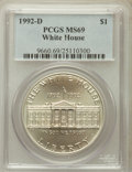 Modern Issues: , 1992-D $1 White House Silver Dollar MS69 PCGS. PCGS Population(2110/203). NGC Census: (1538/372). Mintage: 123,803. Numism...