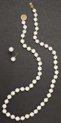 Estate Jewelry:Pearls, Cultured Pearl, Gold Suite. ... (Total: 2 Items)