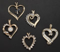 Estate Jewelry:Pendants and Lockets, Multi-Stone, Gold Heart-Shaped Pendants. ... (Total: 5 Items)
