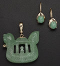 Estate Jewelry:Suites, Jadeite Jade, Gold Jewelry Suite. ... (Total: 2 Items)
