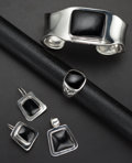 Estate Jewelry:Suites, Black Onyx, Silver Jewelry Suite. ... (Total: 4 Items)