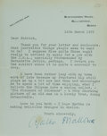 Autographs:Authors, Agatha Christie, British Crime Novelist. Typed Letter, Signed asAgatha Mallowan. Horizontal crease. Some toning and a small...
