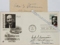 Autographs:Statesmen, Adlai Stevenson, American Politician. Clipped Signature ofStevenson and a First Day Cover, Signed by His Three Sons. Mildt...
