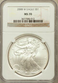 Modern Bullion Coins, 2008-W $1 Silver Eagle MS70 NGC. NGC Census: (19683). PCGSPopulation (2058)....