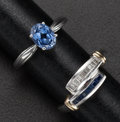 Estate Jewelry:Rings, Sapphire, Diamond, White Gold Rings. ... (Total: 2 Items)