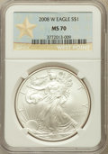 Modern Bullion Coins, 2008-W $1 Silver Eagle, Struck at West Point MS70 NGC. NGC Census:(19683). PCGS Population (2058)....