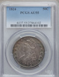 Bust Half Dollars: , 1824 50C AU55 PCGS. PCGS Population (124/288). NGC Census:(109/427). Mintage: 3,504,954. Numismedia Wsl. Price for problem...