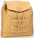 Luxury Accessories:Bags, Chanel Gold Lambskin Leather Quilted Backpack. ...