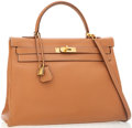 Luxury Accessories:Bags, Hermes 35cm Natural Epsom Leather Kelly Bag with Gold Hardware. ...