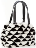Luxury Accessories:Bags, Chanel Black and White Checkered Fur Bag with Black Leather Handles. ...