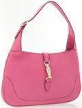Luxury Accessories:Accessories, Gucci Fuchsia Leather Jackie Shoulder Bag with Gold Piston Closure....