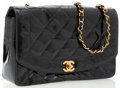 Luxury Accessories:Bags, Chanel Black Patent Leather Flap Bag with Gold Hardware. ...