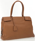 Luxury Accessories:Bags, Prada Brown Leather Bag with Top Handles and Padlock. ...