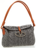 Luxury Accessories:Bags, Valentino Gray Wool Knit Bag with Brown Leather and Crystal LogoMedallion. ...